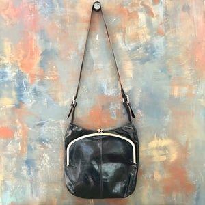 Hobo International Black Leather Kiss Lock Bag